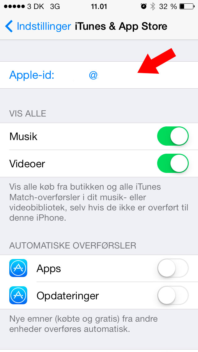 Klik på Apple-id